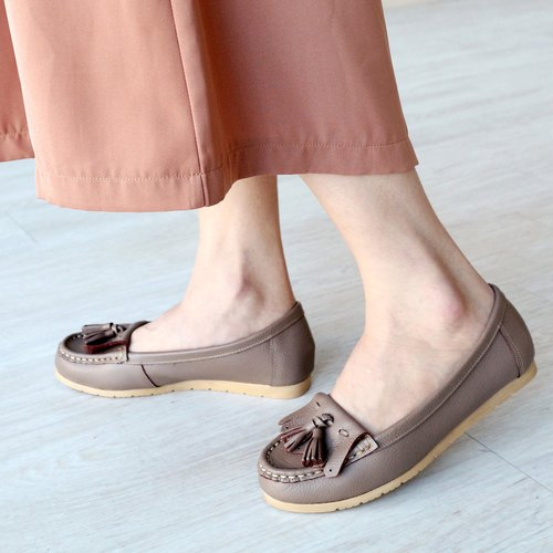 【First love】tassel flat shoes-cocoa-handmad shoes