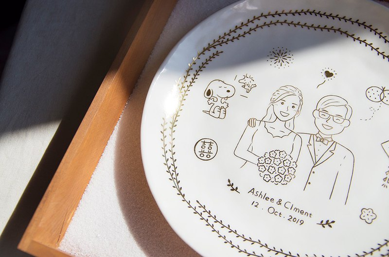 November delivery - hand-painted gold cutlery couple custom wedding commemorative gift rice bowl decorative plate