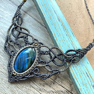 Misssheep-N82-Ethnic style two-color South American wax woven brass labradorite necklace / clavicle chain