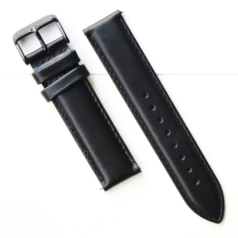 【PICONO】Quick release black leather strap - Black Buckle