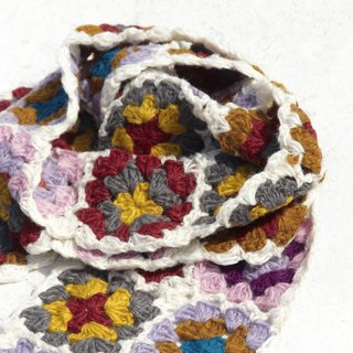 Christmas gift limited a hand hook woven wool scarves / flowers hook woven scarves / hook woven scarves / hand woven scarves / flowers woven stitching wool scarves - Nordic snow forest wind flowers scarves