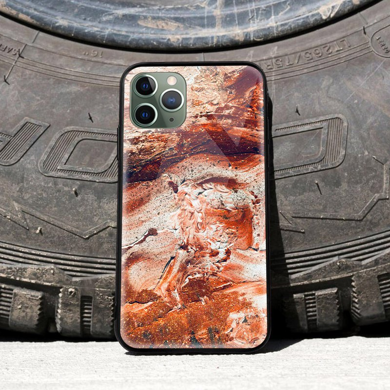 Red Mars Marble curvy colourful glossy phone case iPhone 11Pro Samsung