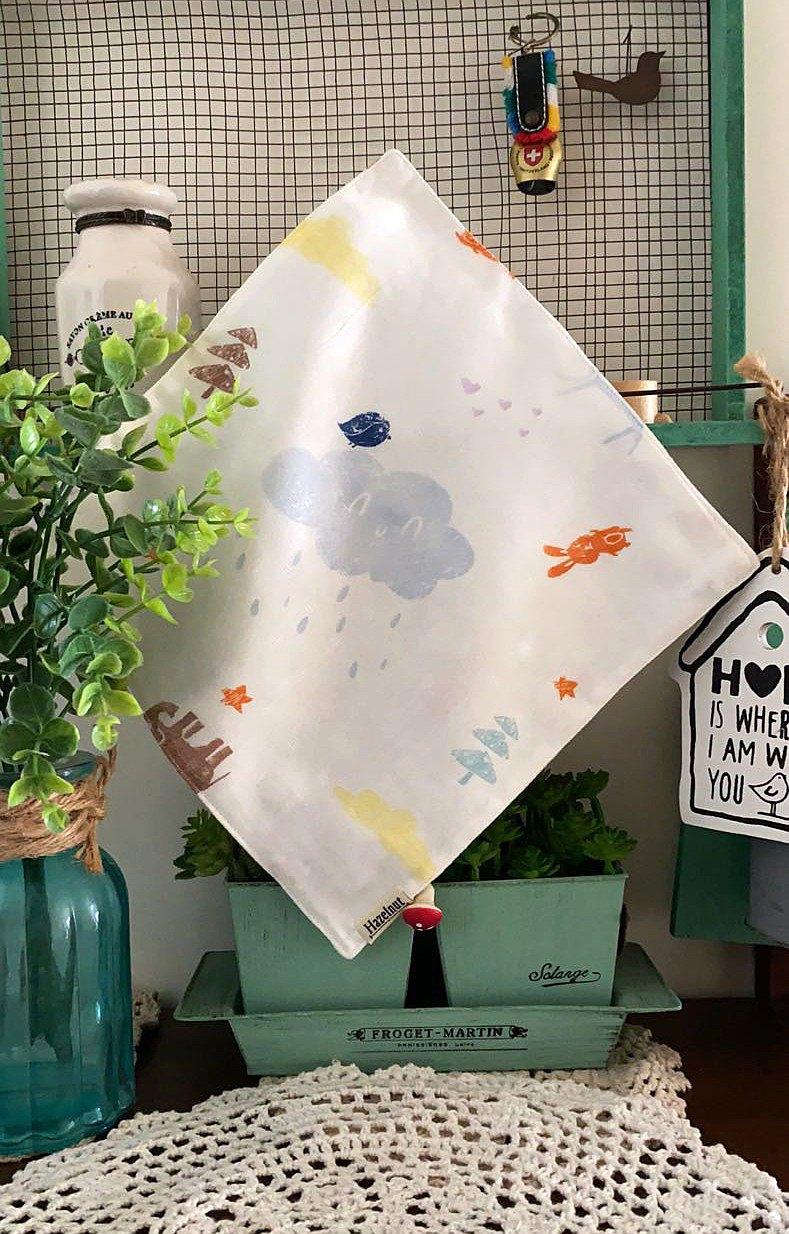 動物樂園圖案口水巾/小手帕/小方巾/二重紗布