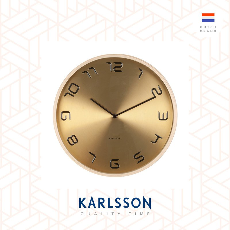 Karlsson, 黃銅色鐘面木框掛鐘 Wall clock Bent wood gold plated