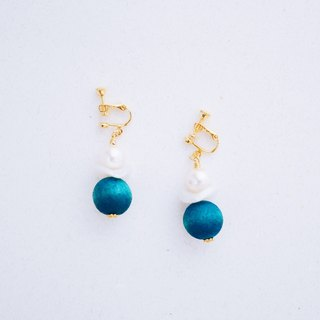 Snowman - Crystal Pearl Peacock Blue Wood Head Earrings