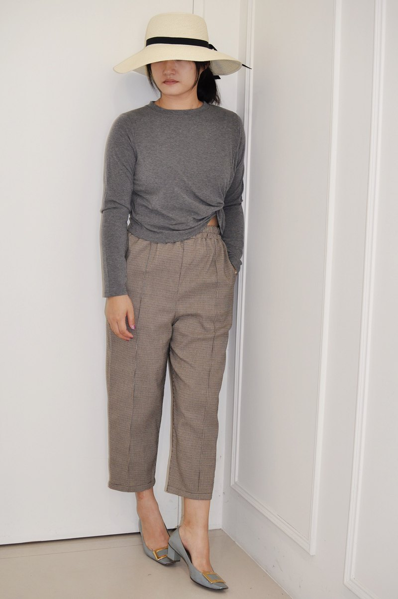 Flat 135 X Taiwan Designer Series Textured Casual Cropped Pants Cotton Houndstooth Cloth