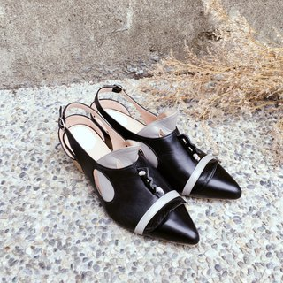 /The Deep/ Cliopsis - Black / gray - Special 3D modeling *Pointy-toe sandals*