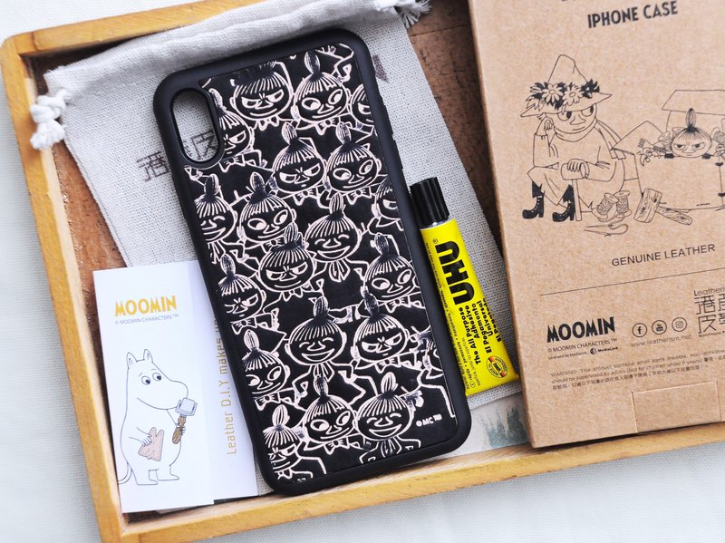 MOOMINx Hong Kong-made leather Ami hand-dyed mobile phone case kit iPhone officially authorized