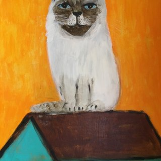 Himalayan cat on the roof of the original painting