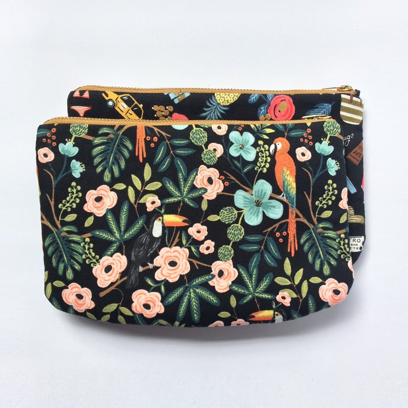 Paradise Garden Clutch Purse, Large Zipper Pouch, Bird Flower Prints