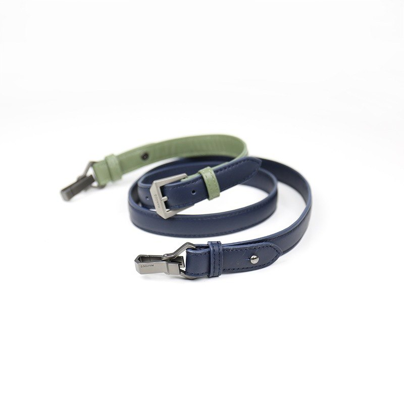 [Shoulder] Small leather bag shoulder strap-blue x green