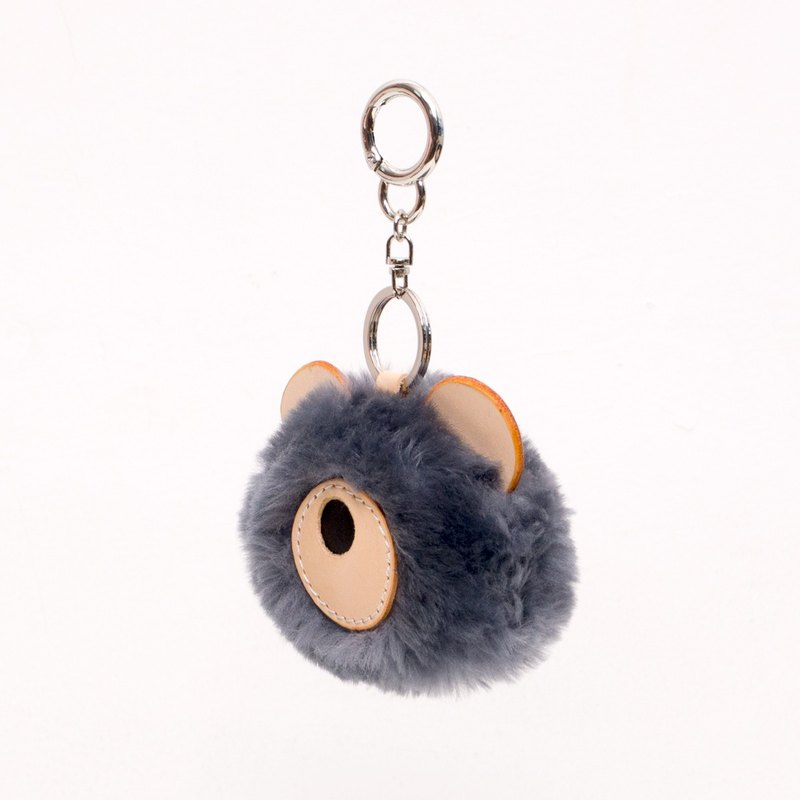 JulyChagall Gray wool fur with vegetable tanned cowhide handmade bag pendant keychain Christmas gift