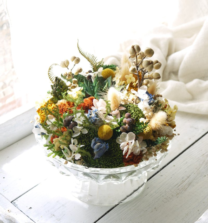 Salad garden. Fresh grass color. Warm table dry flowers gift.
