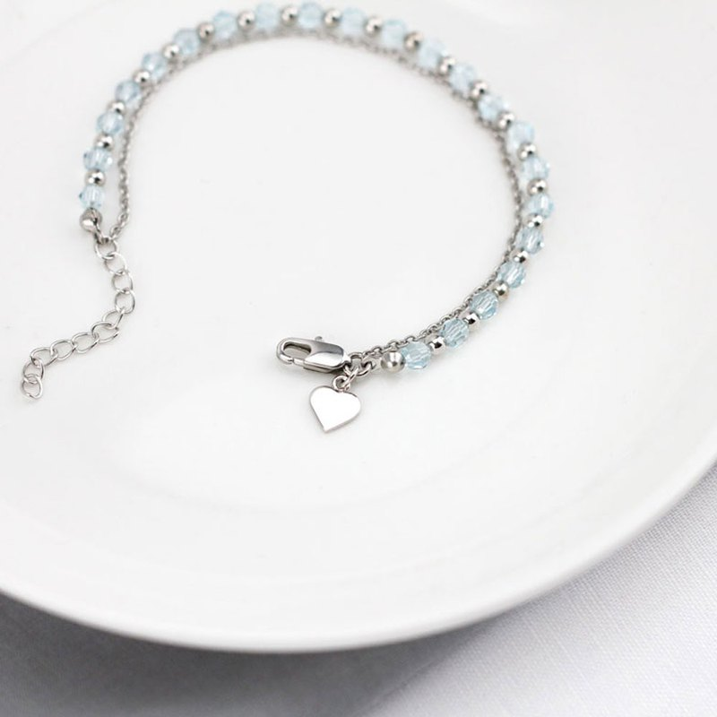 Heart Charm with Aquamarine Swarovski Beads Bracelet - White Gold plating