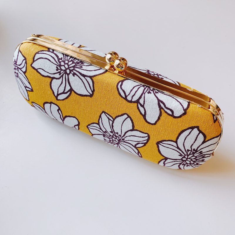 Yellow White Floral Glasses Case/ Pencil Case/ Jewellery Case