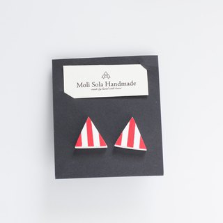Hand made triangular clay earring earrings red stripes