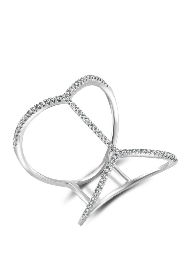 Double Wave Line Diamond Ring