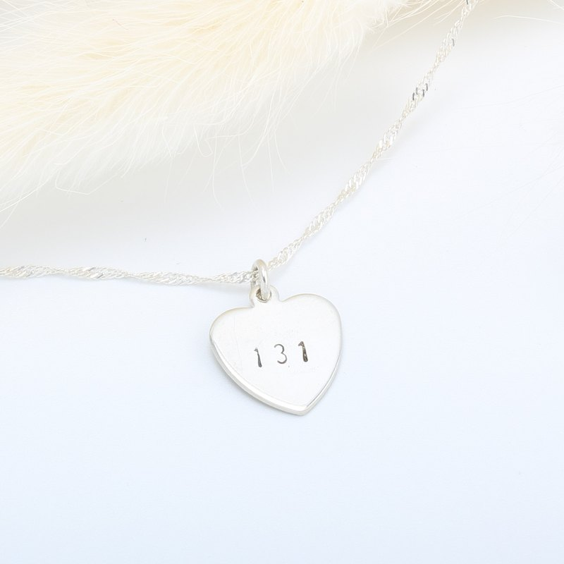 Custom love (medium) stamping letter digit s925 sterling silver necklace