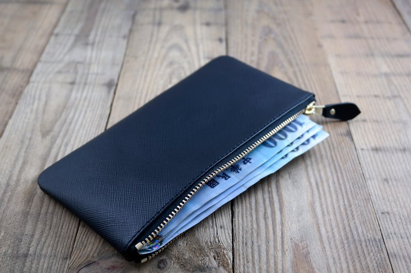APEE leather handmade ~ zipper banknote package ~ cross fine grain black