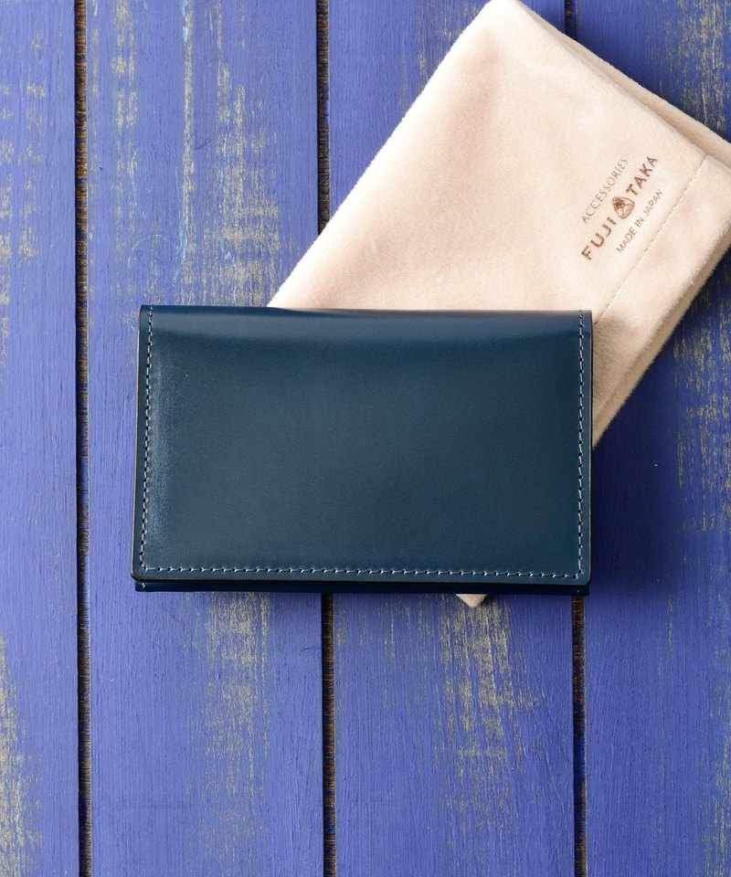 Gemme Wallet Cordovan Japanese Vegetable Tanned Horseshoe Bi-Fold Business Card Holder-Blue