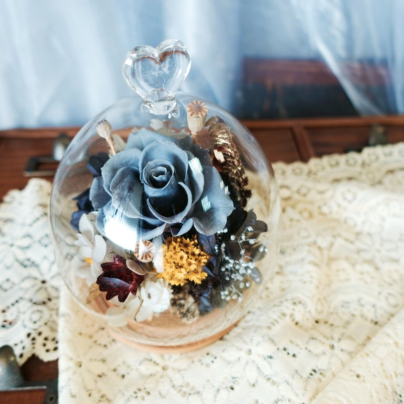 *Love glass 盅花礼-Friendly guardian / glass cover wood flower bud / not withered flowers + dry flowers