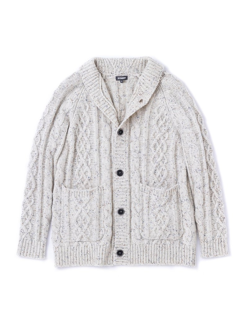 """KENNEDY"" SHAWL COLLAR CARDIGAN - BEIGE"