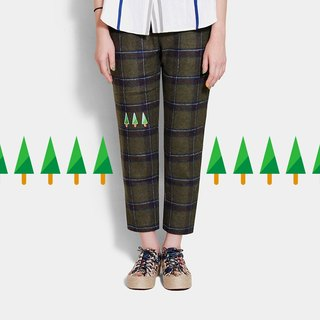 Mexican children [Recommended] three small thin tree / olive green plaid pants (small version)