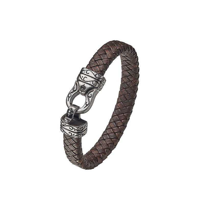 [SOLO ACCESSORIES] Carved Hook Bracelet-Brown
