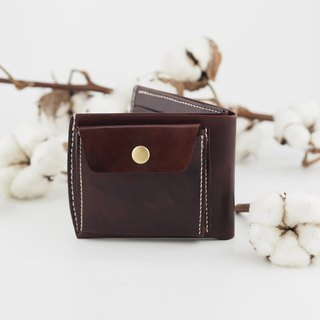 Simple leather short clip wallet coffee red handmade