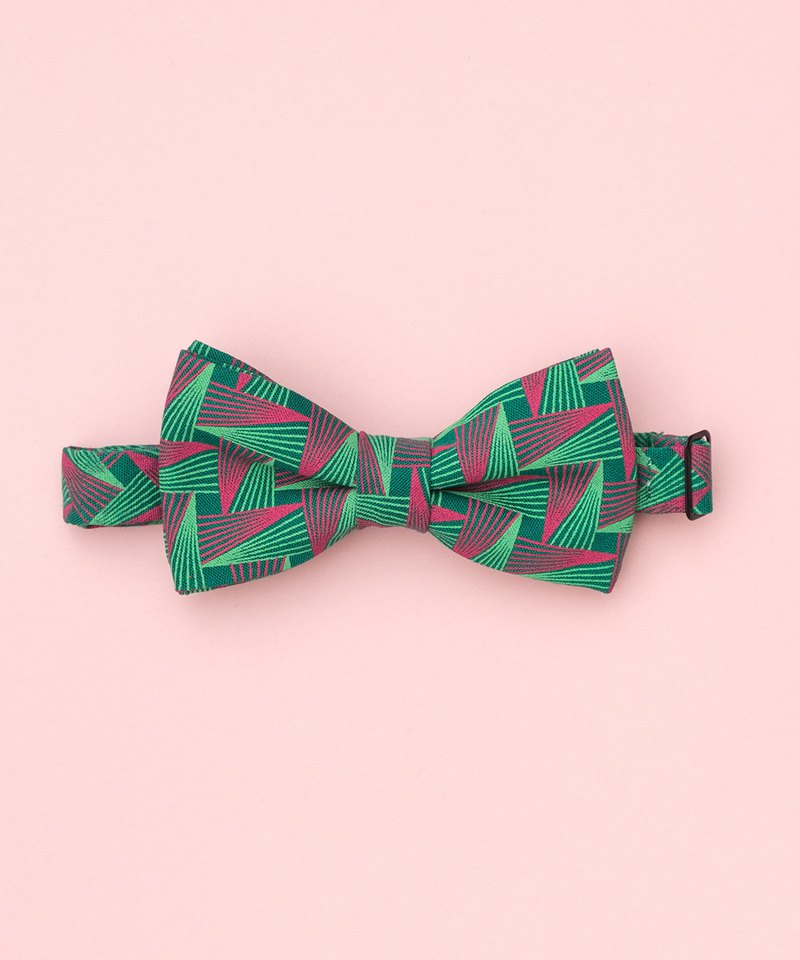GREEN GEOMETRIC BOW TIE