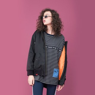Water-repellent Shiny Quilted Bomber Jacket