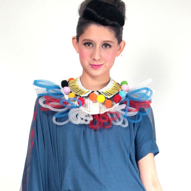TIMBEE LO blue strip colorful network tube decoration collar blue yellow wedding dress evening wear