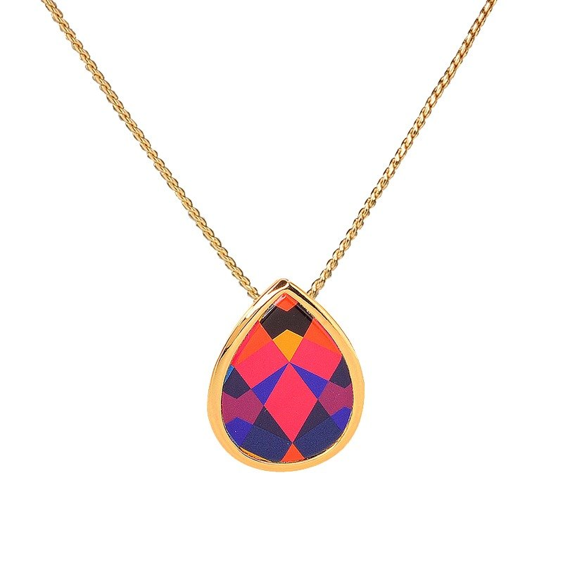 Dew passionate love printed enamel necklace (gold) -19,205,151,138