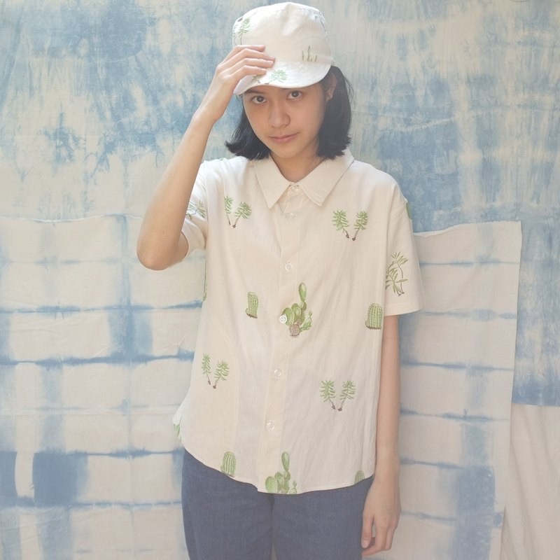 linnil: Cactus shirt with hidden pocket - limited printed on 100% cotton