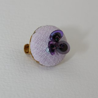 handmade purple floral brooch,  round flower pin