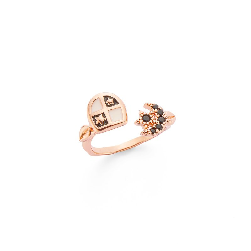 PY Small Black Window and Fantasy Starry Ring 16K Rose Gold