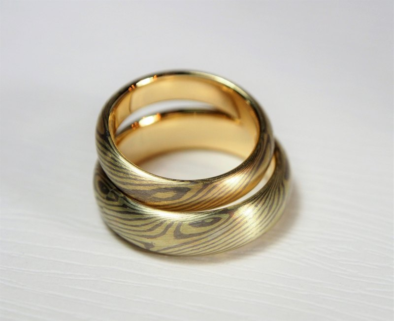 Element47 Jewelry studio~ Karat gold mokume gane wedding ring 11 (14KY/14KW) (Tw
