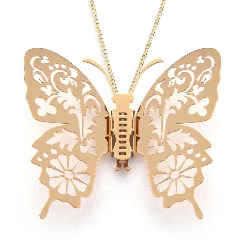 可換翅膀蝴蝶項鍊 花草印象 (金色) 醫療級不銹鋼 不會氧化過敏
