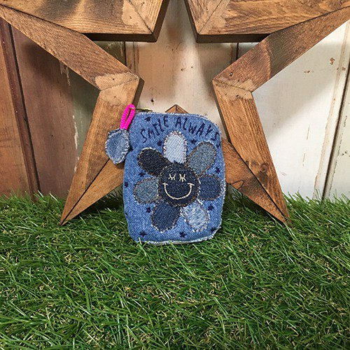 Denim Flower Smile Key Coin Case