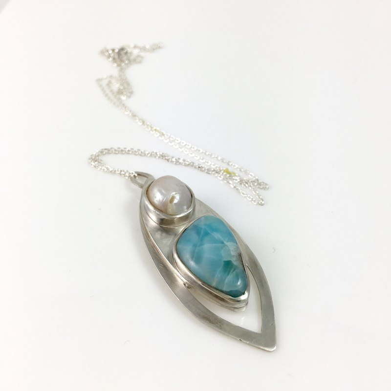 Natural gemstone Larimar/Pearl Sterling Silver Necklace