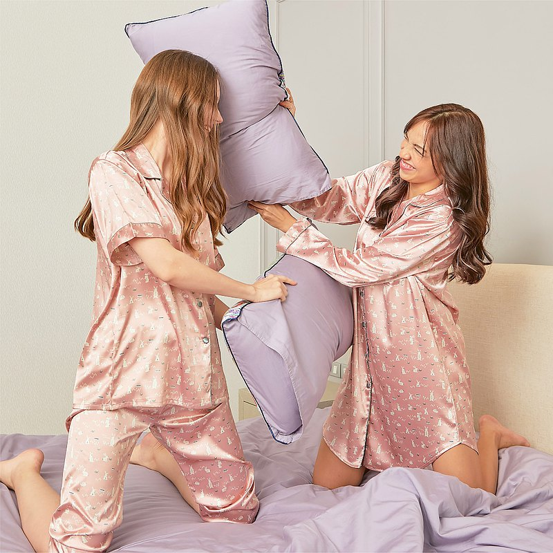 Satin Pajamas dress with long sleeves