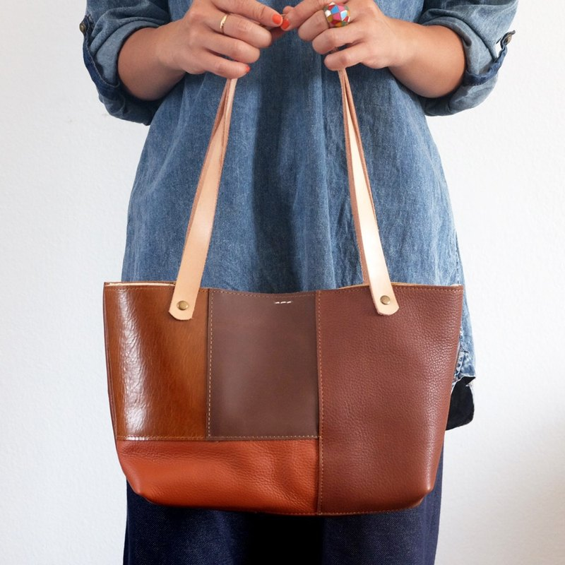 Mini Leather Patchwork Tote Bag