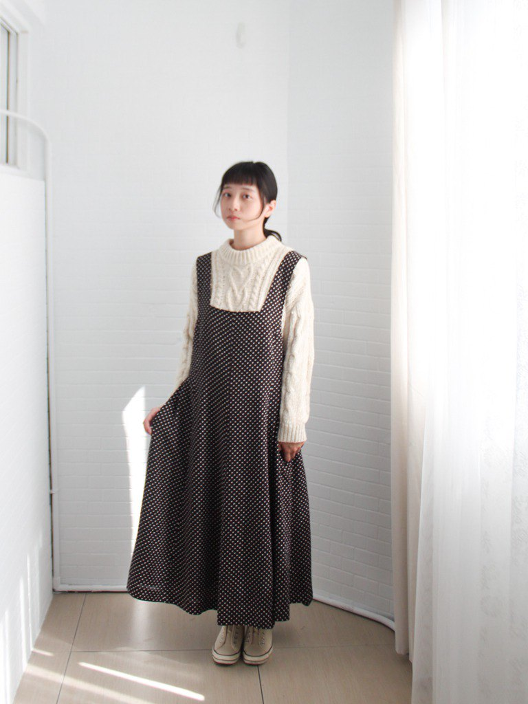 Retro Autumn Japanese Simple Dot Sling Strap Black Sleeveless Vintage Dress