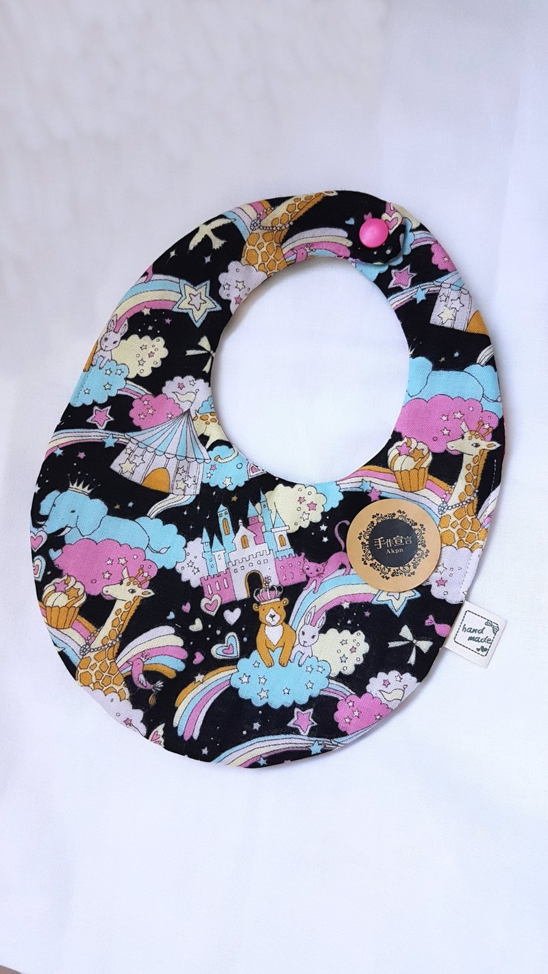 Rainbow Circus - Black] Eight Layers 100% Cotton Double Sided Egg Shape Bib