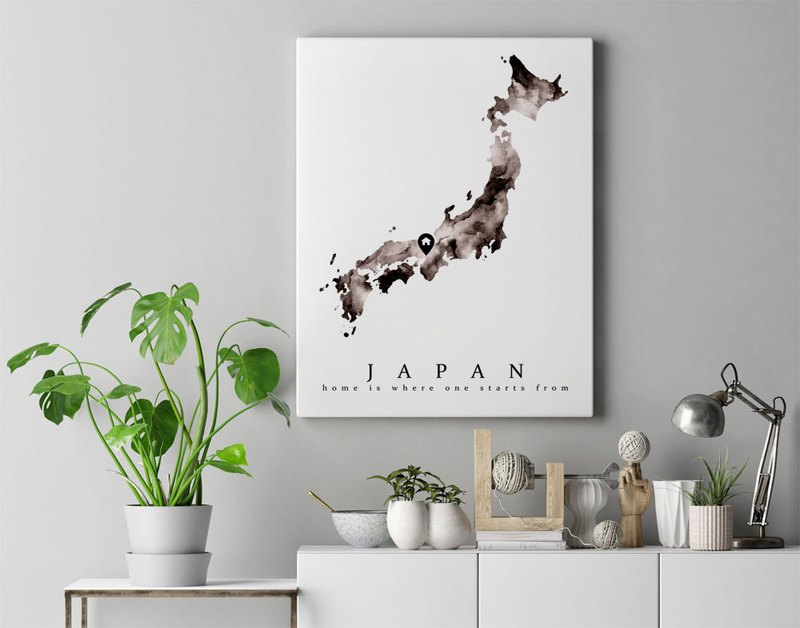 【Japan Map】 Watercolor Art Print. Home Town Personal Memento Geography Wall Art.