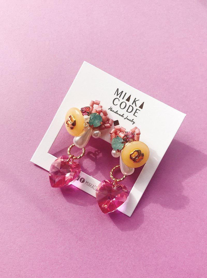 Dual-use handmade beaded yellow pink love ear pin / ear clip
