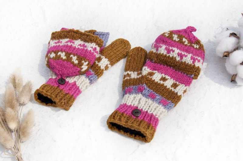 Hand-knitted pure wool knit gloves / detachable gloves / inner bristled gloves / warm gloves - desert rose
