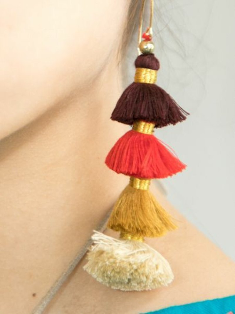 [Popular pre-order] gradient color tassel earrings (three colors) IJCZ9315