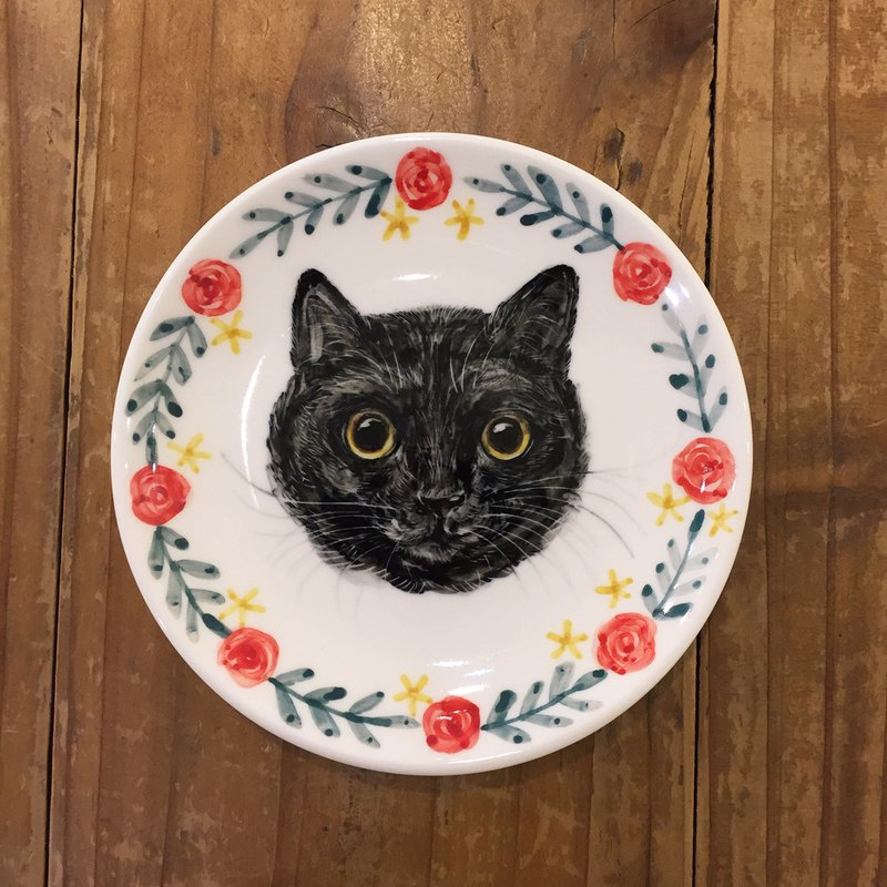 Hand-painted 5 吋 snack plate small dish - black cat - spot