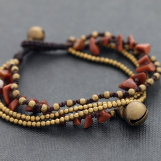 Gold Stone Layer Bracelets Woven Beaded Brass Gypsy